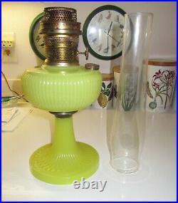 Yellow Vertique Aladdin Lamp with Pat. Pend. B Burner & 3 Line Lox-On Chimney